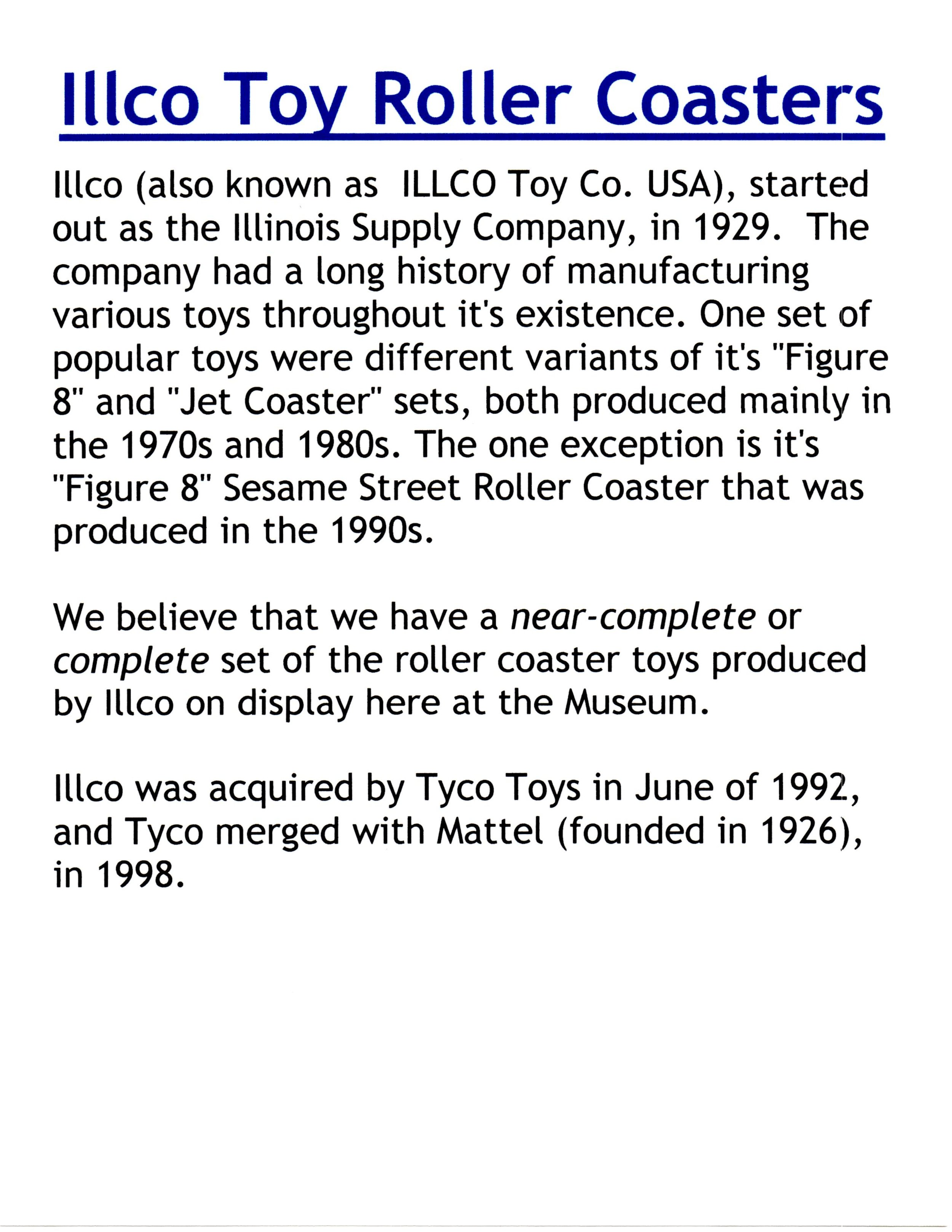 Exhibit: Playtime: Roller Coaster Toy Gallery - Illco Roller Coaster Toys Description