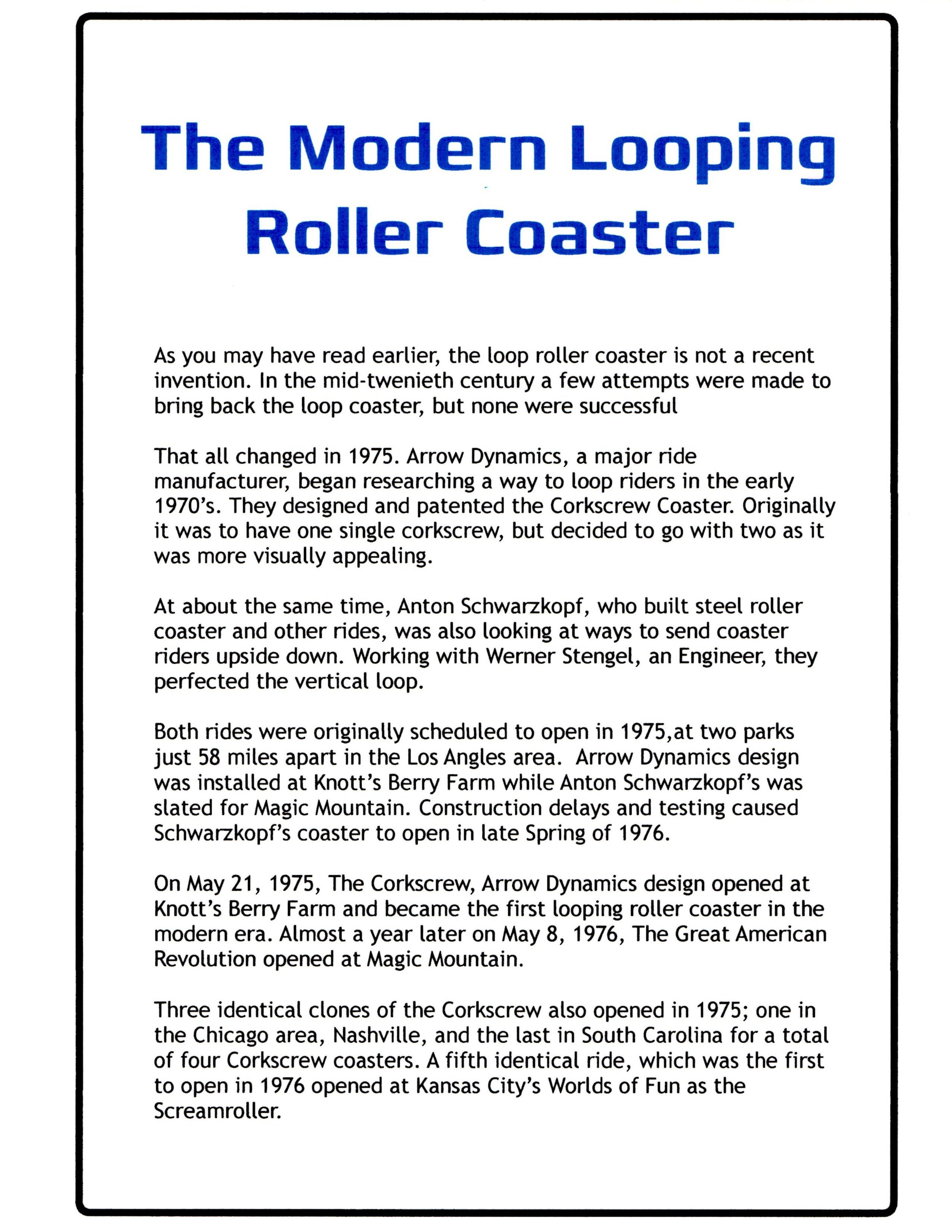 Exhibit - The Modern Looping Roller Coaster