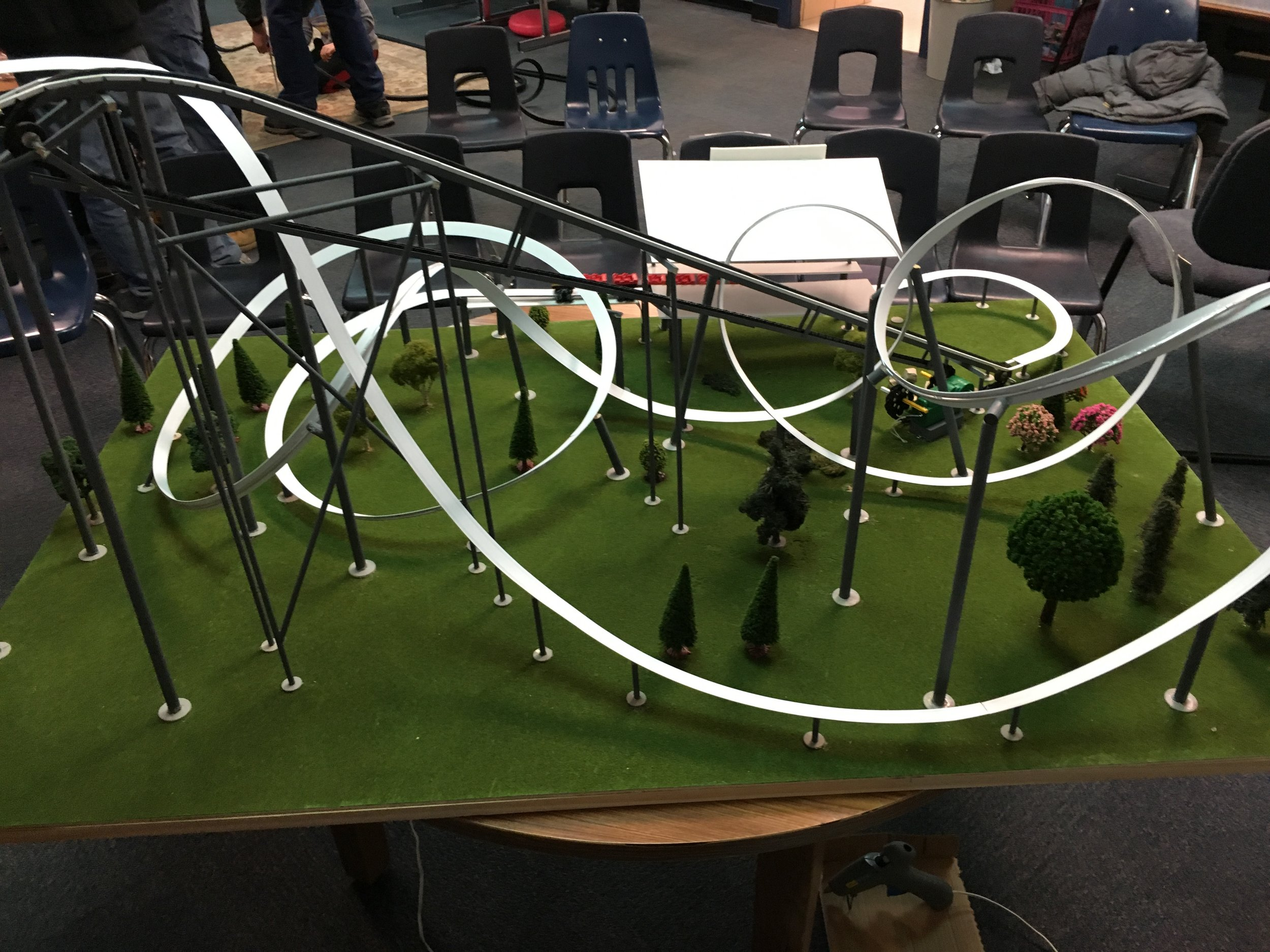 """The coaster was built for display at a friends school where she is a teacher back in February. It was built in 5 days, a """"speed build"""". I wasn't happy with the station and it also had some operational issues."""