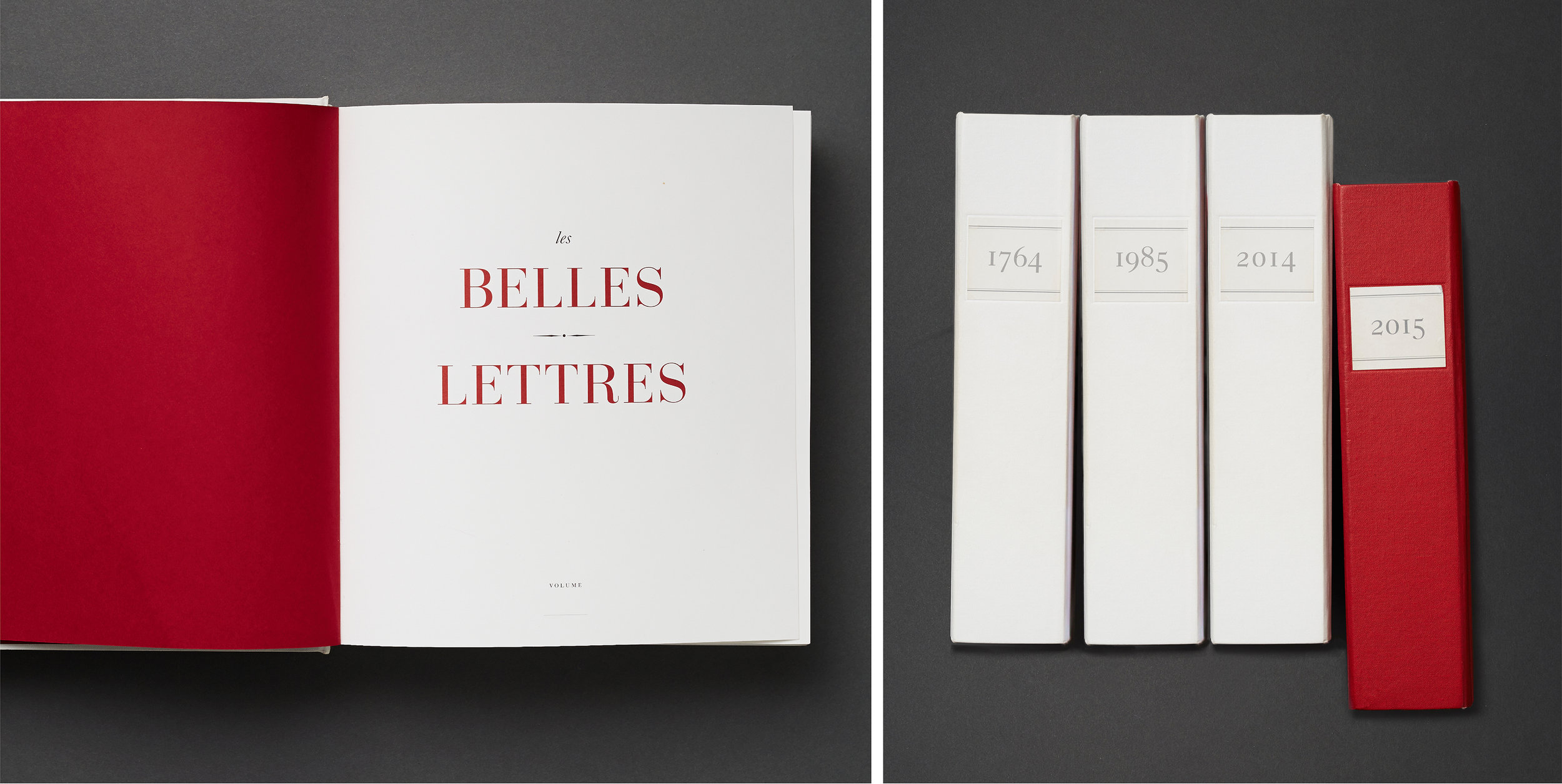 "Les Belles lettres. A series of 250 books in the library of the Grand Salon. 249 white books for each year that Baccarat exists and one red book for the year the hotel opened. Once you turn the title page, all inside pages are blank with just a page number. Guests and visitors can leave each other secret messages….""check out 1951 page 78….."