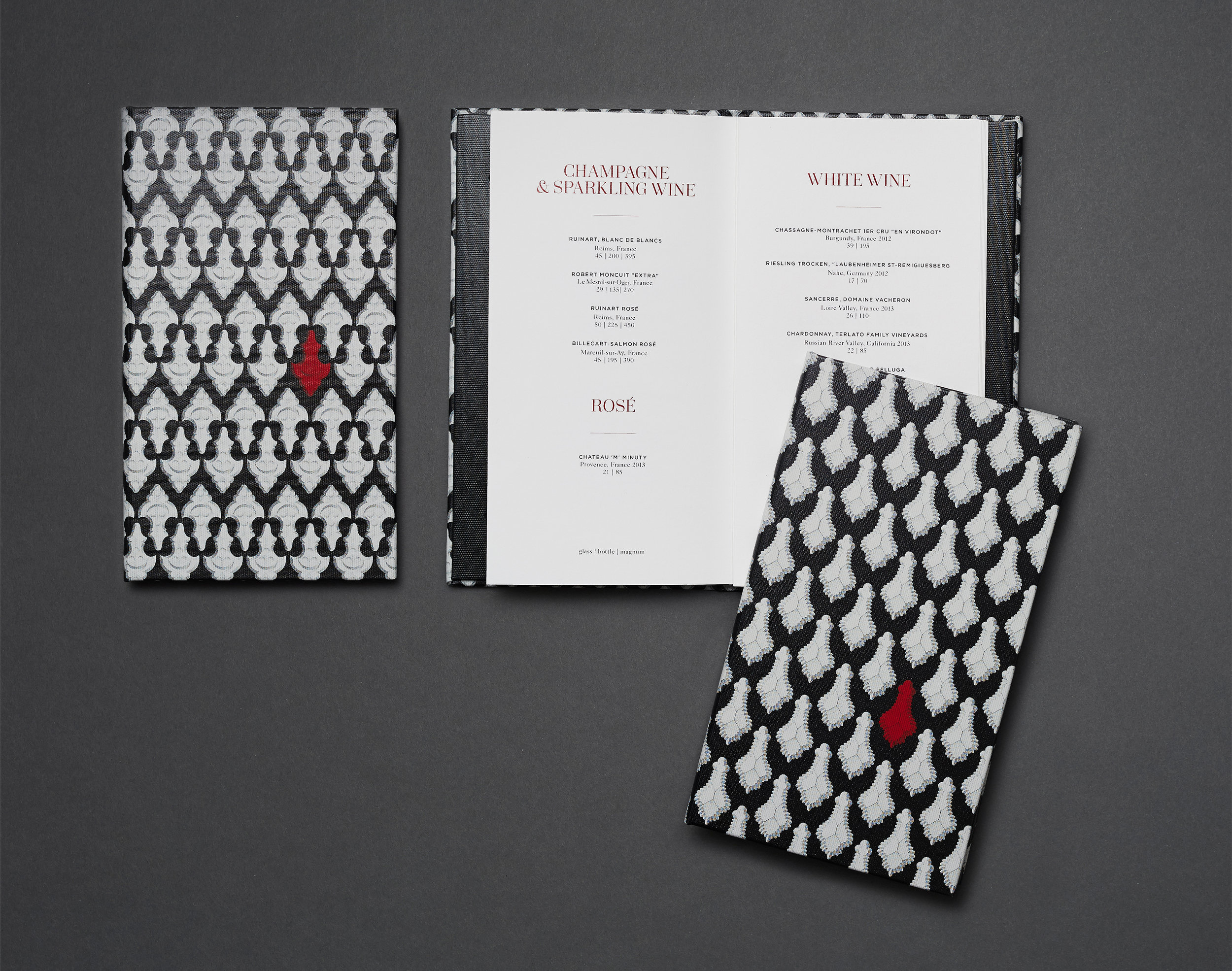 Bar Menu pattern was created using original vintage crystal drawings from the Baccarat library.