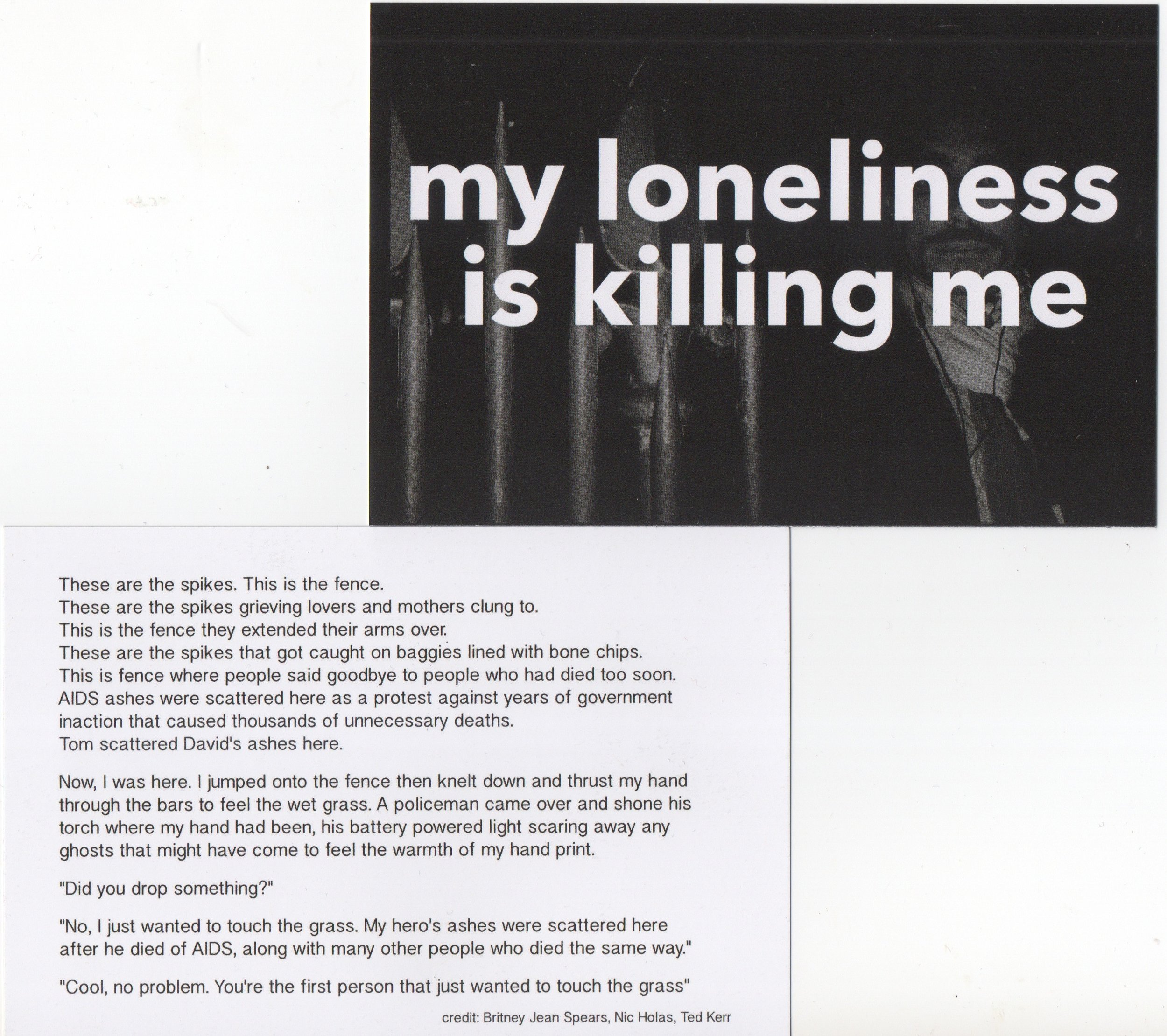 My loneliness is killing me, postcard project in collaboration with Nic Holas, 2016