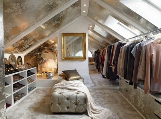 Attic closets are a great idea! This one has a sky light too so it's filled with natural light unlike most dark attics. So charming! Love the color scheme,warm tones and soft textures.