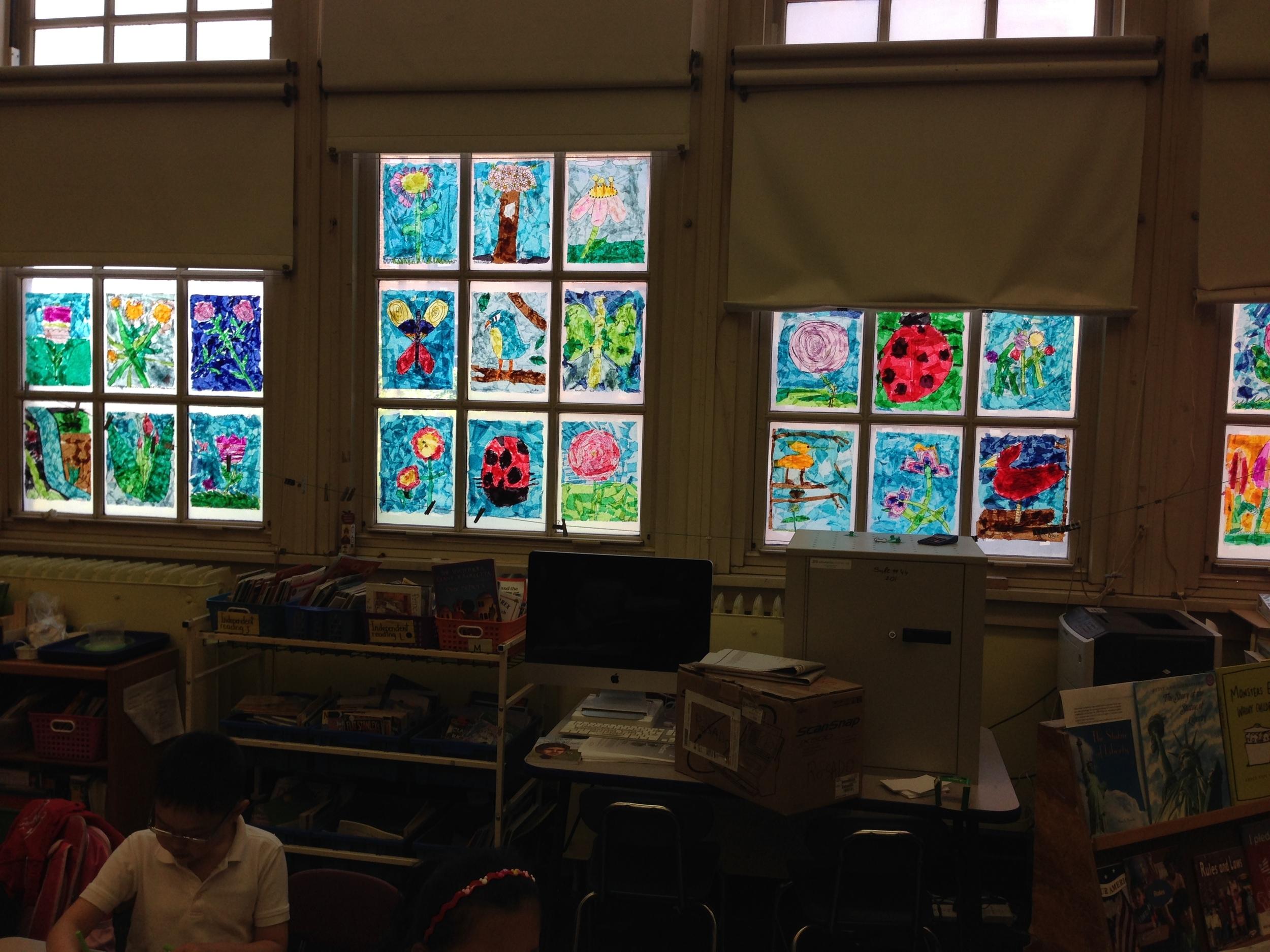1st grade stained glass garden.JPG