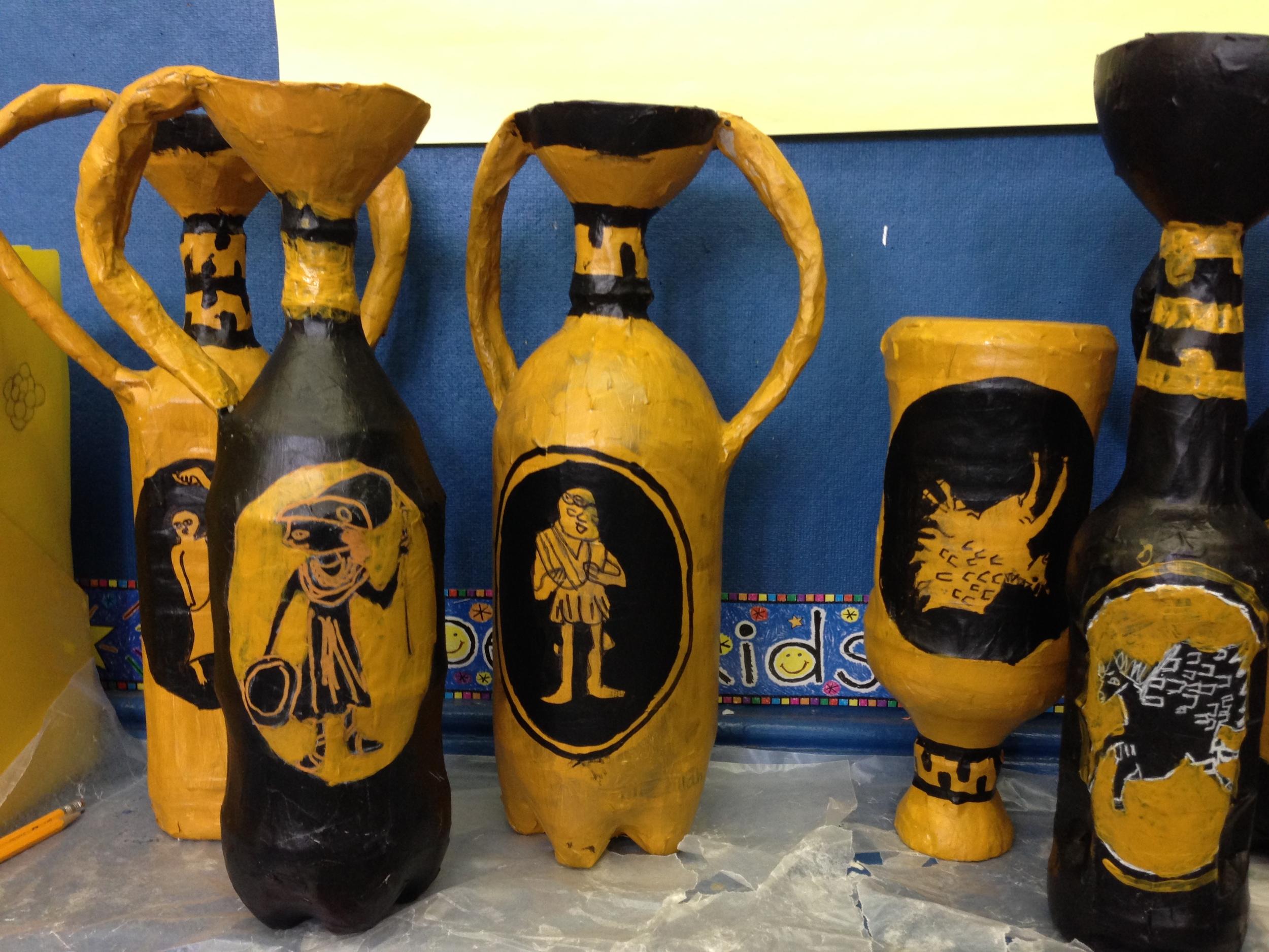 3rd grade Greek vases recycled.JPG