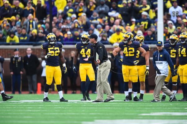 Ann Arbor, MI - October 17, 2015 - Michigan Stadium: Coach Jim Harbaugh of the University of Michigan Wolverines during a regular season game (Photo by Joe Faraoni / ESPN Images)