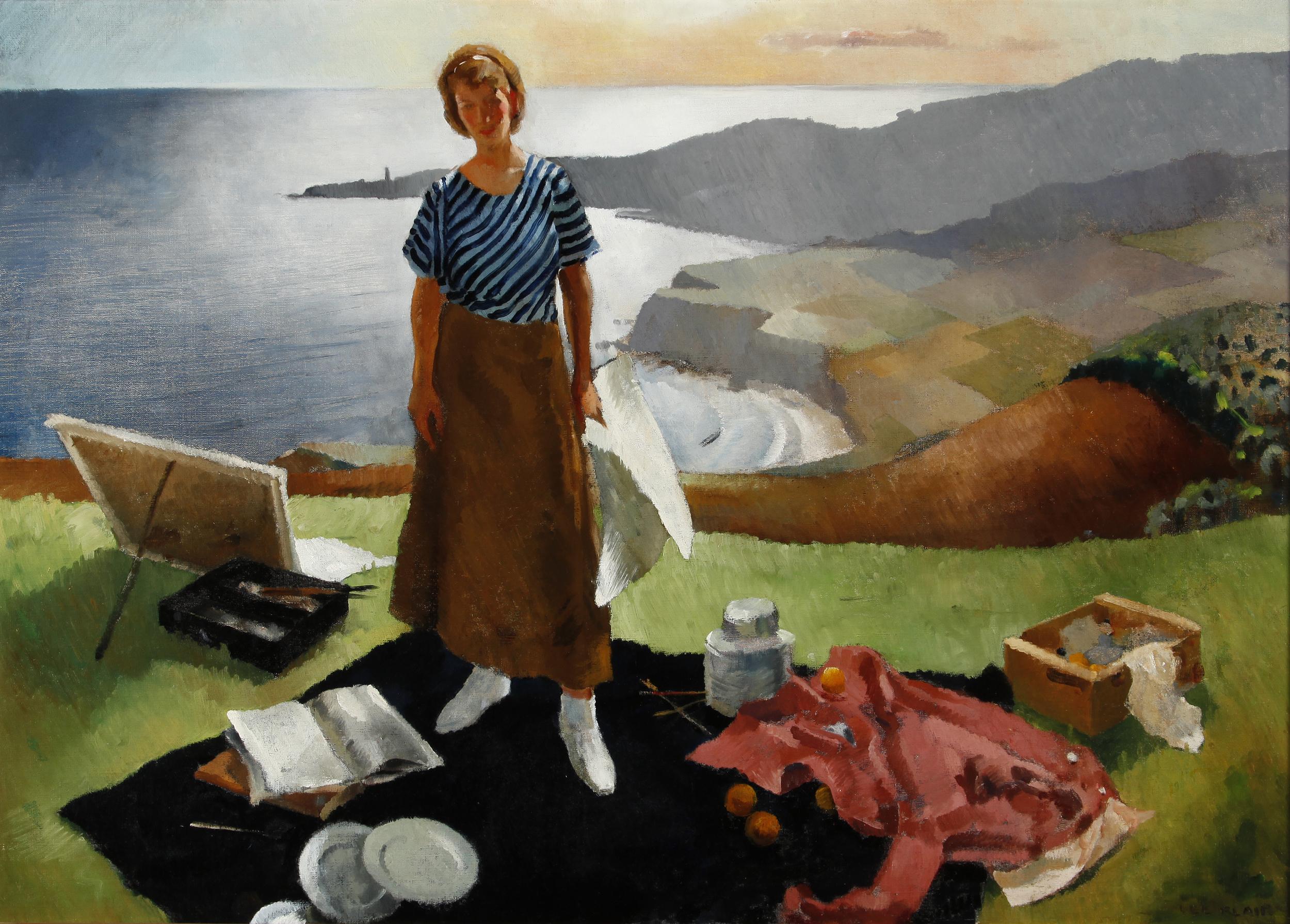 """Lee Blair, """"Mary Blair, Overlooking Palos Verdes,"""" 1934.  Oil, 34 x 48 in."""