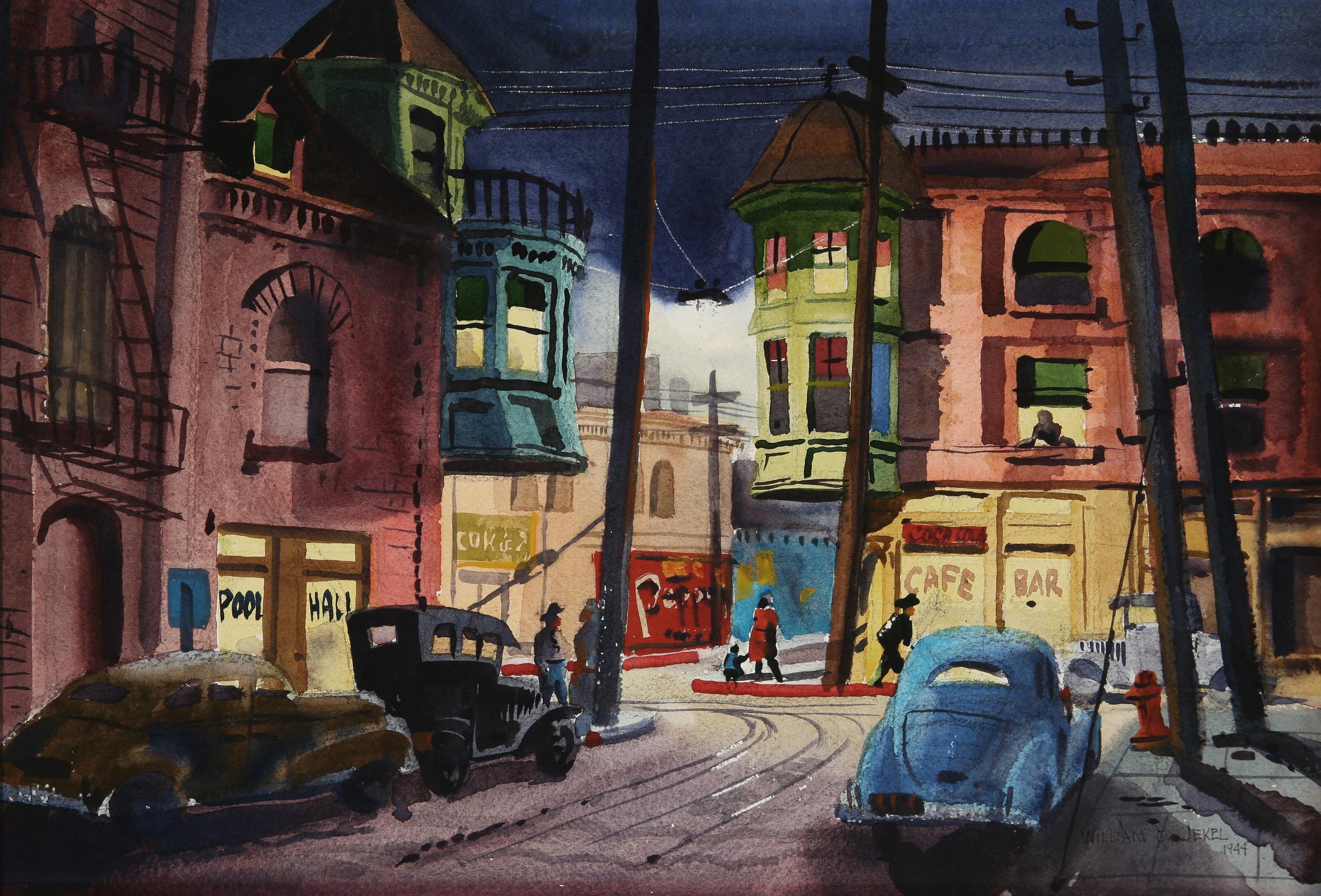 "William Jekel, ""San Pedro Street, Night,"" 1944.  Watercolor, 15 x 22 in."