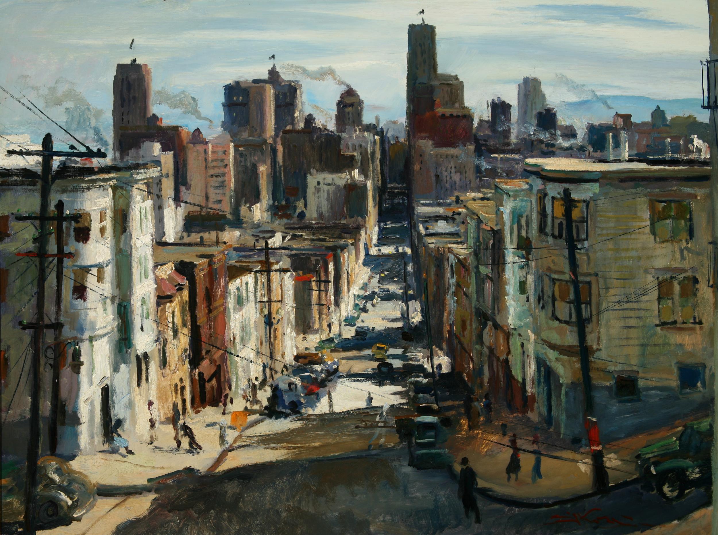 "Emil Kosa Jr., ""San Francisco,"" 1942.  Oil, 30 x 40 in."