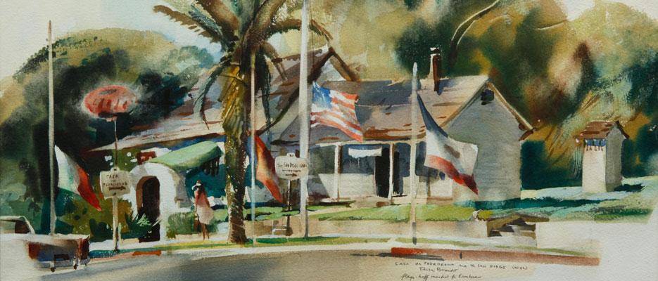 """Rex Brandt, """"Casa de Pedroena"""" 1968, watercolor, 11 1/2 x 19 1/2 in."""