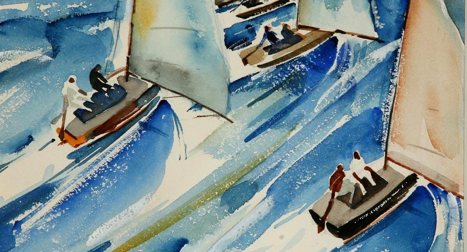 "Phil Dike, ""Regatta"" 1934, watercolor, 10 1/2 x 9 1/2 in."