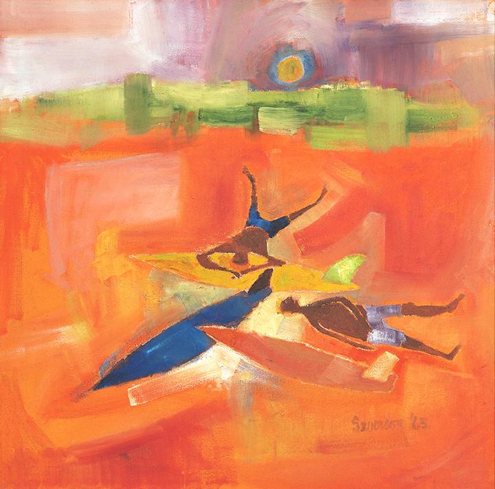 "John Severson, ""Surf Be Bop,"" 1963, oil on canvas. Courtesy of Louise Severson."