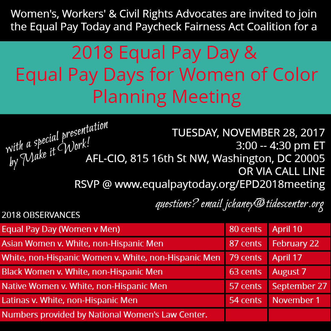 did your organization participate in one of the 2017 equal pay days? want to influence the 2018 observances?  if so, join us.  - Click on button to RSVP or go to https://goo.gl/forms/DYZA8u54cHyV4M5J2