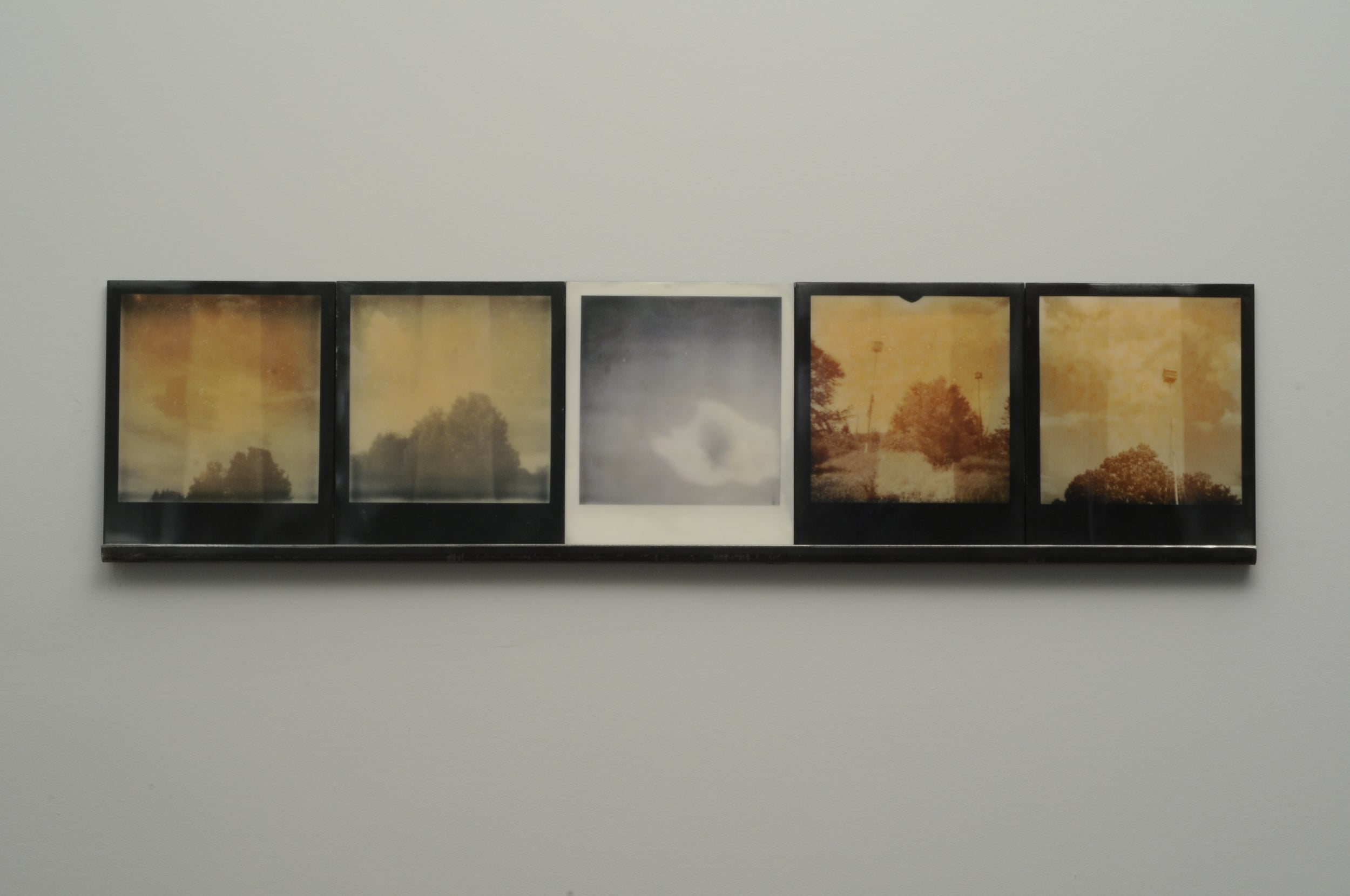 """Cumulonimbus  , 2015, pigment prints on cotton and panel with encaustic medium and steel shelf, 8.5"""" x 35.25"""" x 1"""" variable edition of 2 and 1 artist proof"""