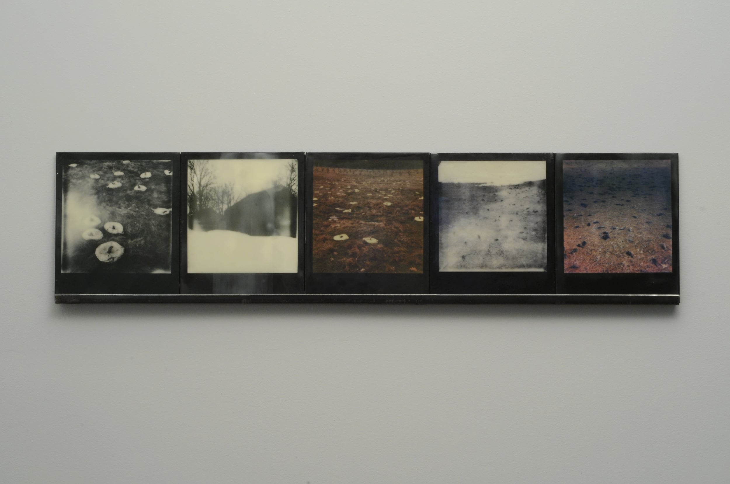 """Winter Spill  , 2015, pigment prints on cotton and panel with encaustic medium and steel shelf, 8.5"""" x 35.25"""" variable edition of 2 and 1 artist proof"""