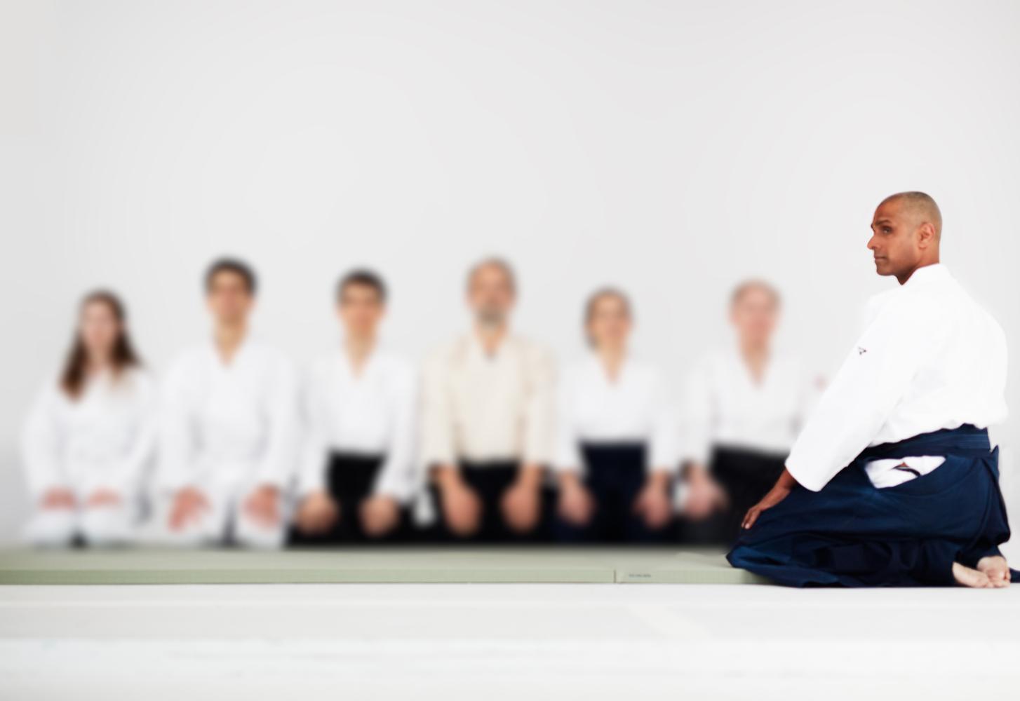 Ama Mann leads an Aikido class