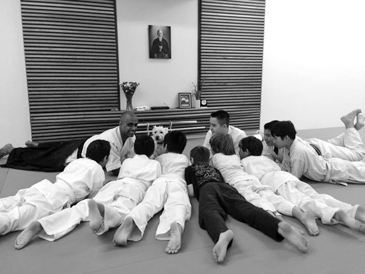 Sensei Ama, teaching the Tatami Youth class along with his furry assistant Whiskey.
