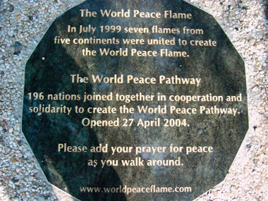 Eternal World Peace Flame at the Home of the U.N. International Court of Justice, The Hague, Netherlands. Visit the World Peace Flame website to see the other monuments that have been built around the world.