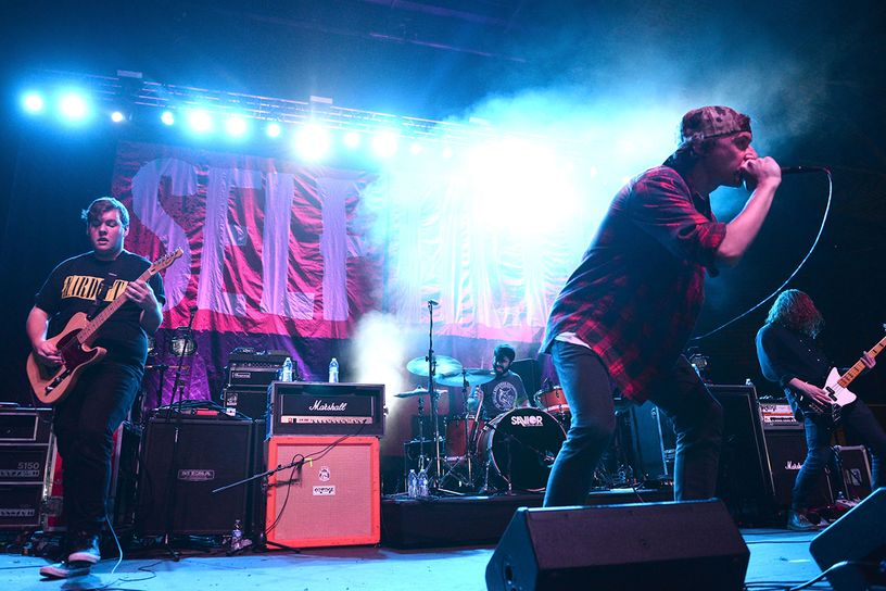 ABOVE: New York Pop punk band,  STATE CHAMPS, playing on second stage. (Notice alternate stage colors)