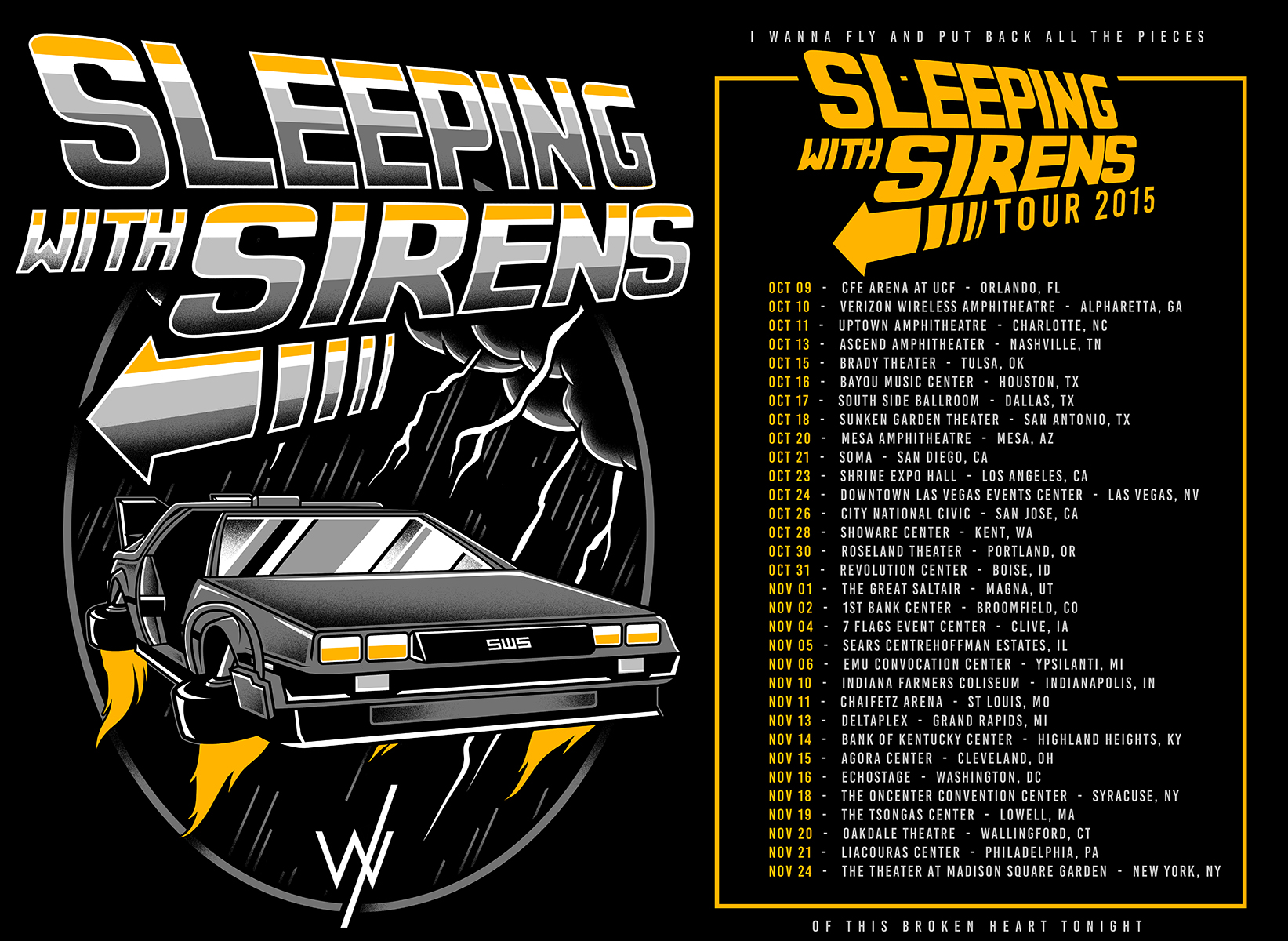 "ABOVE: TOUR ARTWORK FOR SLEEPING WITH SIRENS / ALL TIME LOW "" BACK TO THE FUTURE HEARTS"" US TOUR"