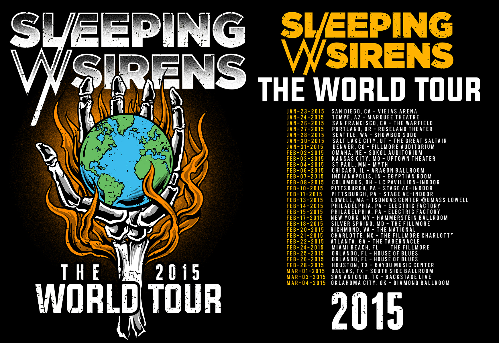 ABOVE: SWS 2015 OFFICIAL WORLD TOUR SHIRT ARTWORK  RIGHT: SLEEPING WITH SIRENS JAPAN TOUR 2015 EXCLUSIVE ARTWORK  BELOW: SWS HOT TOPIC MERCHANDISE ARTWORK.