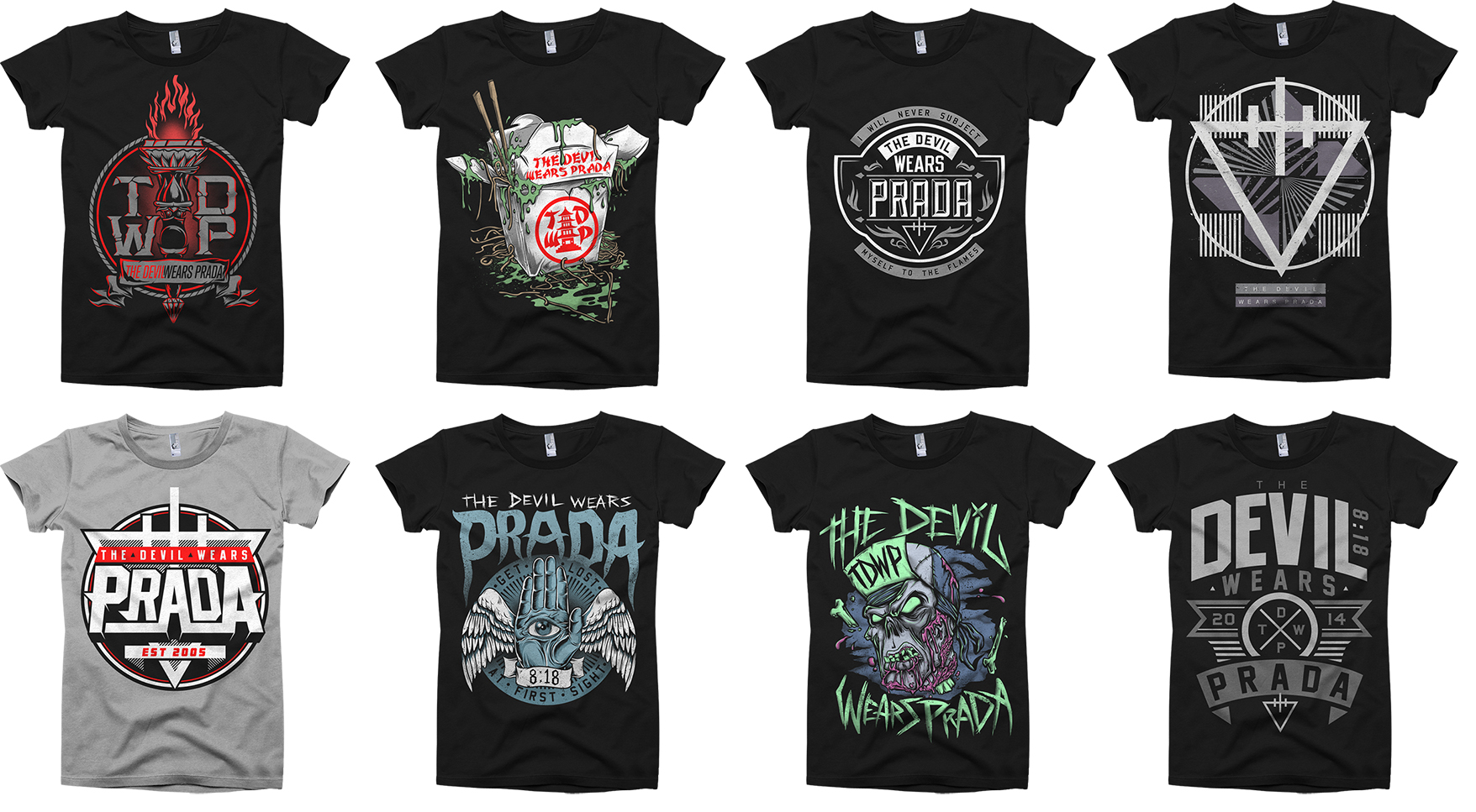 ABOVE: THESE ARE ALL DESIGNS IVE CREATED FOR TDWP SOLD THROUGHOUT THE WORLD AT VARIOUS EVENTS, THE OFFICIAL WEBSTORE, THEIR RECORD LABEL, AND RETAIL.