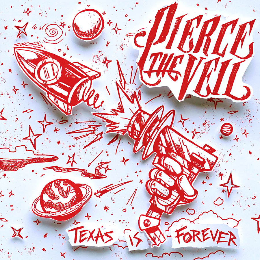 "The above is the cover art for the first single ""Texas Is Foeever"" featuring re illustrated elements from the full albu, art that represent this song lyrically."