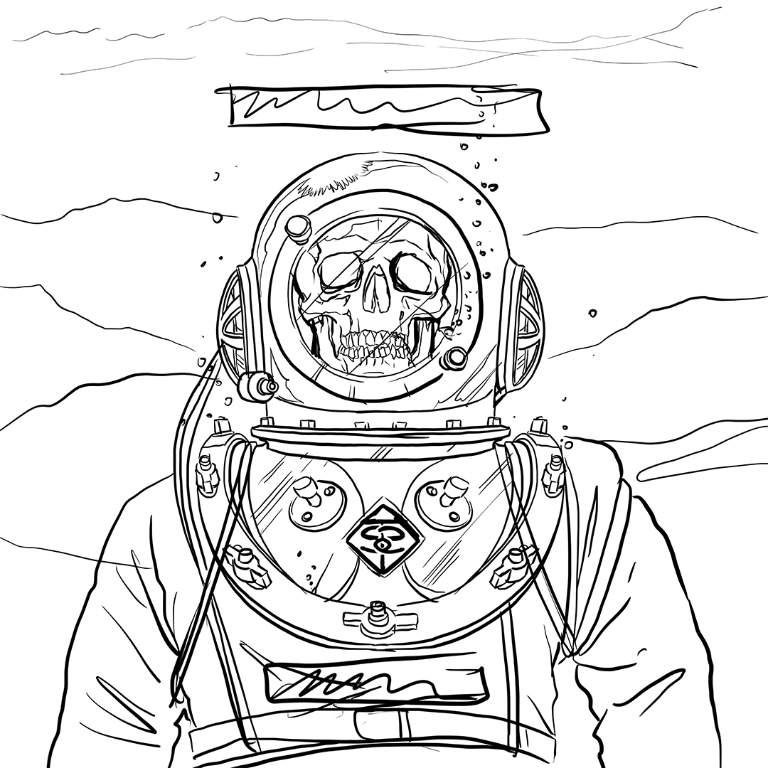 """Here's a shot of the original sketch for the cover of SINK THE SWIM - """" PERSEVERE""""."""