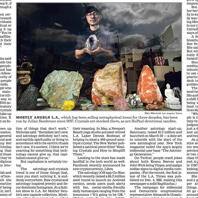 """Dude! My baby @mostlyangelsla is in the @latimes !!! It's in print and online today... Read the article on """"How millennials replaced religion with astrology and crystals"""" by Jessica Roy with an interview with my colleague and friend  @crystalsofaltamira . .  I'm floored 😶 . Photo: Mel Melcon"""
