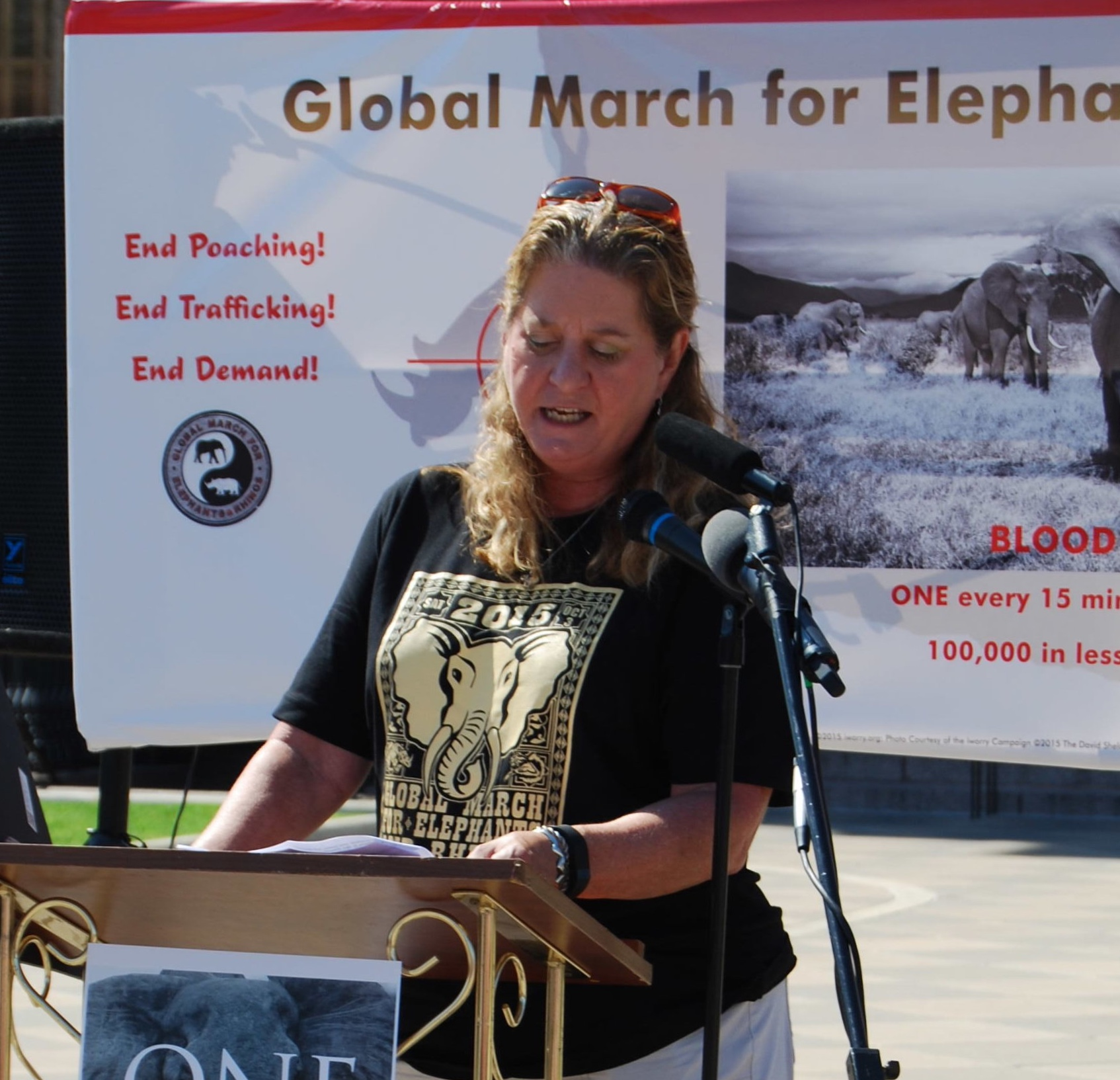 march ORGANIZER AMY DONOVAN BRINGS MARCHERS UP TO DATE ON CURRENT POACHING ISSUES AND WHAT AUSTINITES CAN DO TO HELP END THE IVORY TRADE.