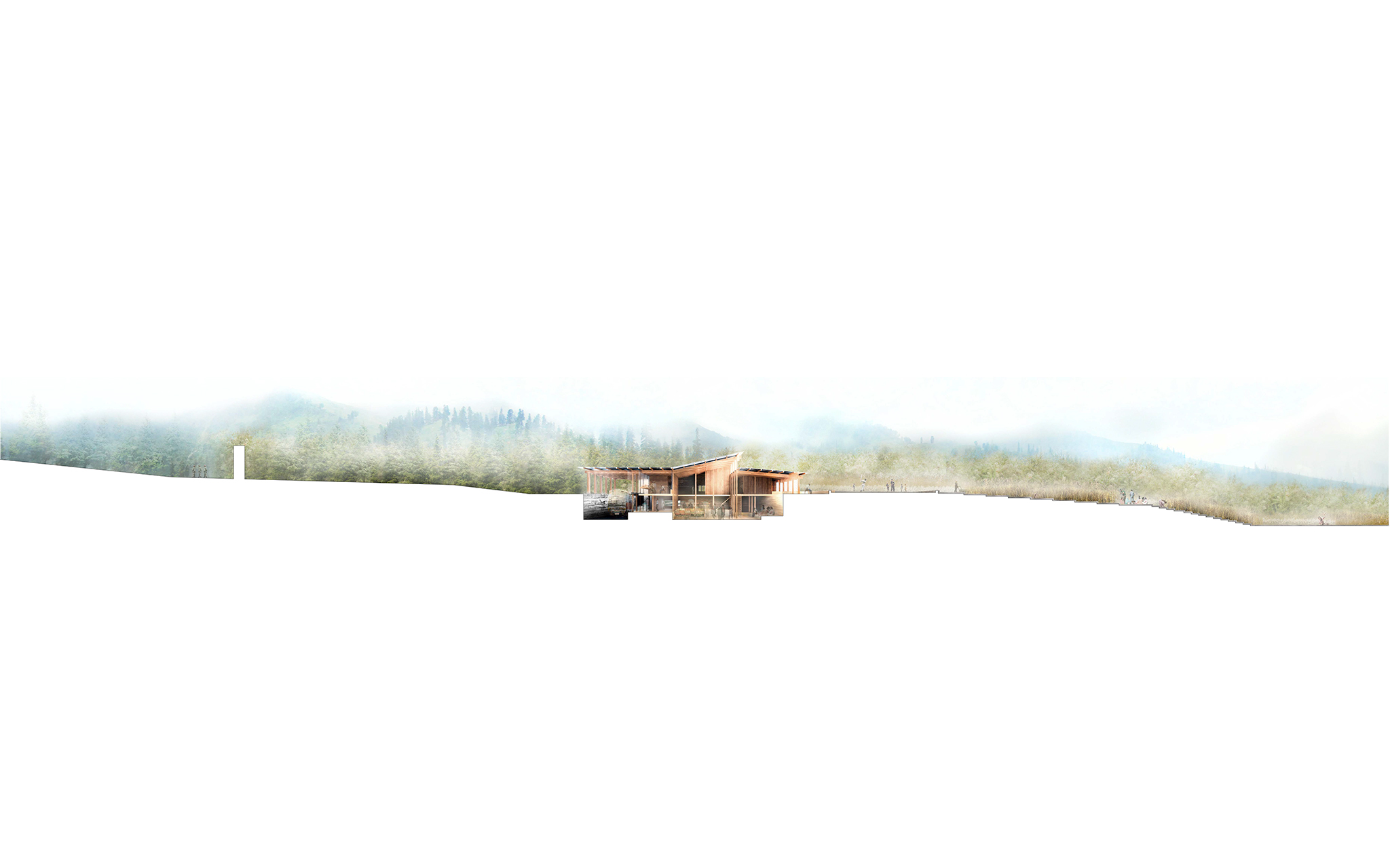Figure 15. Cross-section of a typical shared border building that is partially sunken into the ground and opens up to the landscape along the datum of the border.