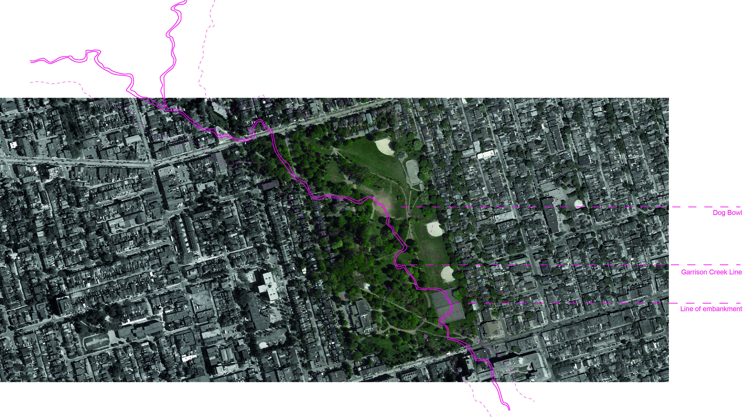 Map of Trinity Bellwoods Park with Garrison Creek Line. (By author)