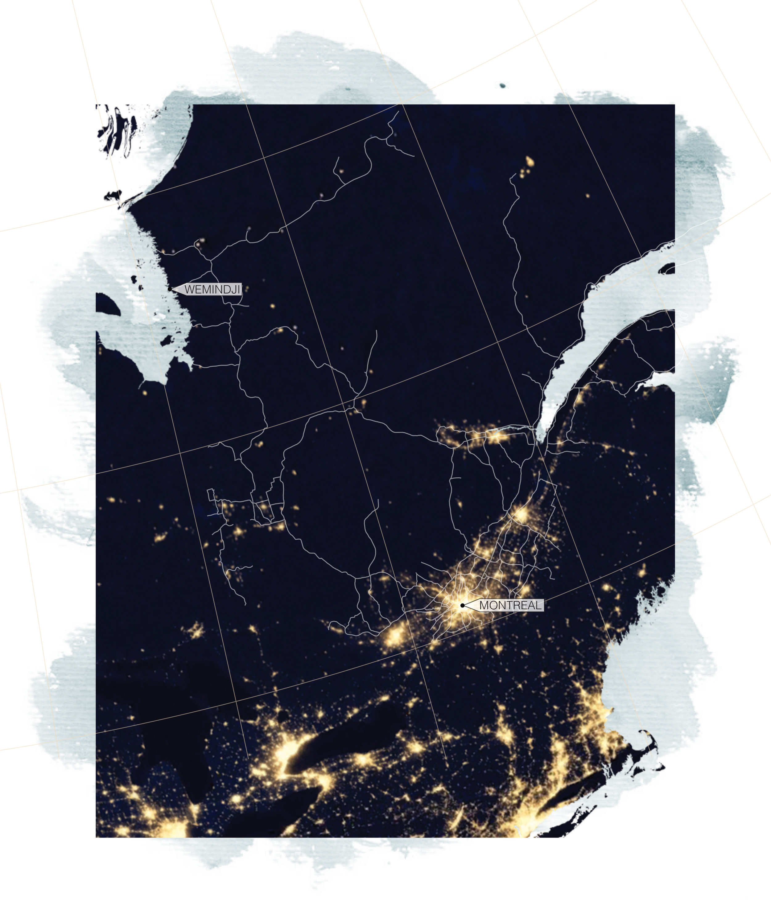 Illuminated southern cities are in stark contrast to the Cree communities that power them.