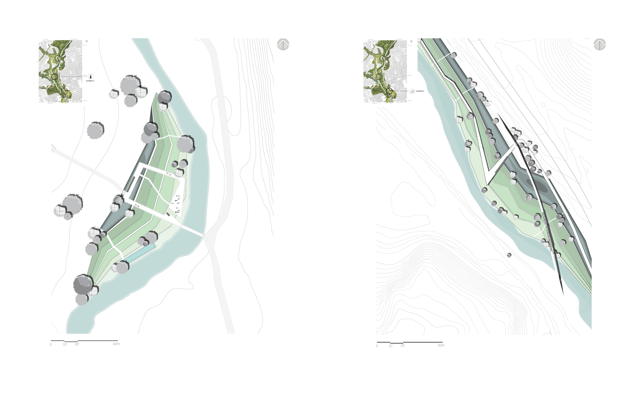 Figure 7 (L): Site plan location 2 showing the public gathering areas in front of the River's edge, the elevated deck for yoga activities, and the bridge connecting the program to the existing trail.  Figure 8 (R): Site plan location 3 showing the designed pedestrian boardwalk as well as the rest area for pedestrians and cyclists.