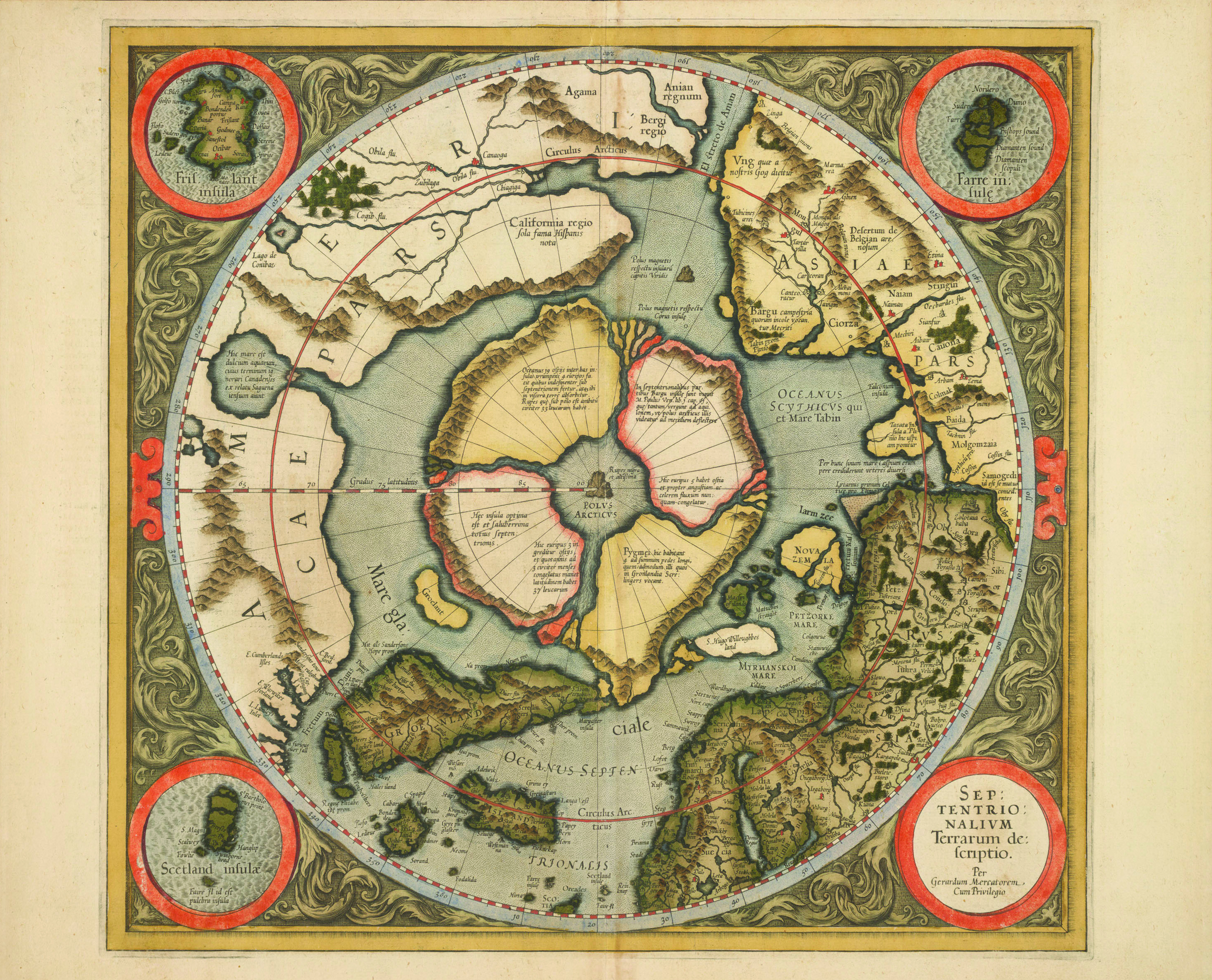 Image 7: Gerardus Mercator's 1595 polar projection depicting a magnetic mountain at the North Pole. (Map courtesy Library and Archives Canada, Mikan no. 3682241)