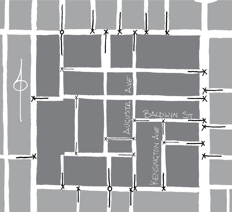 Figure 6: Map showing the high concentration of T-intersections surrounding the Kensington Market neighbourhood as laid out in 1924. O denotes streets continuous inside and outside the neighbourhood, while X represents a road that ends at the major street.