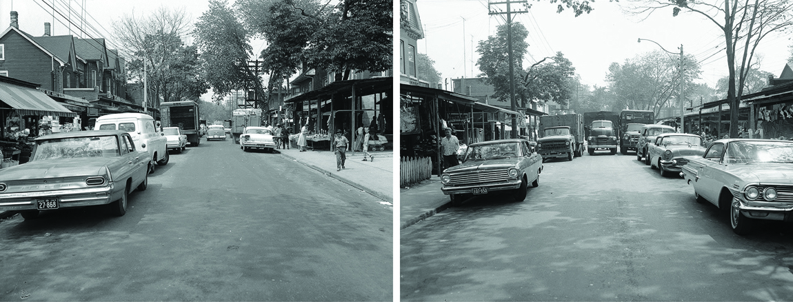 Figure 7: Archival photographs showing Augusta Avenue in 1963. The fixed awnings are in place, though they have yet to be enclosed. City of Toronto Archives, Series 1057, Item 5611; Series 1057, Item 5612