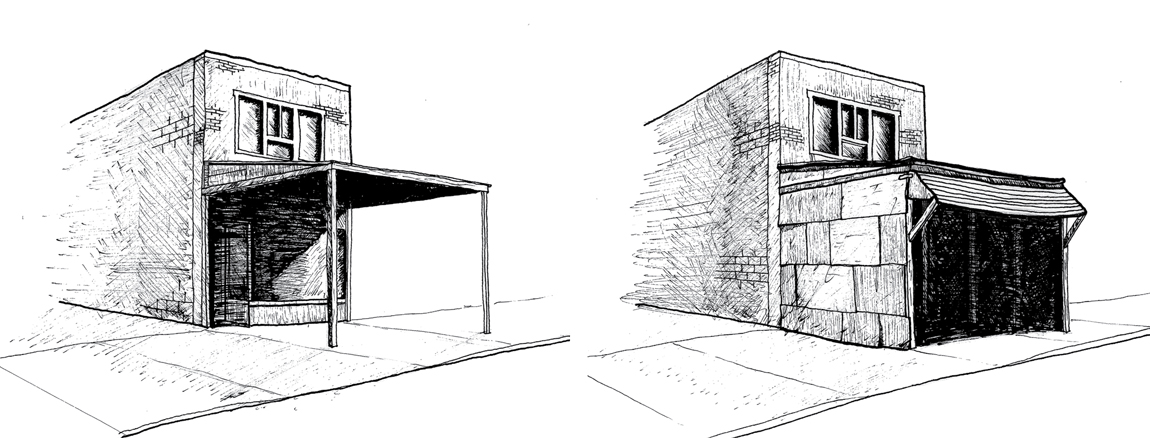 Figure 8: Drawing of a fixed awning on Augusta Avenue, before and after winterizing the space. The former is speculative.