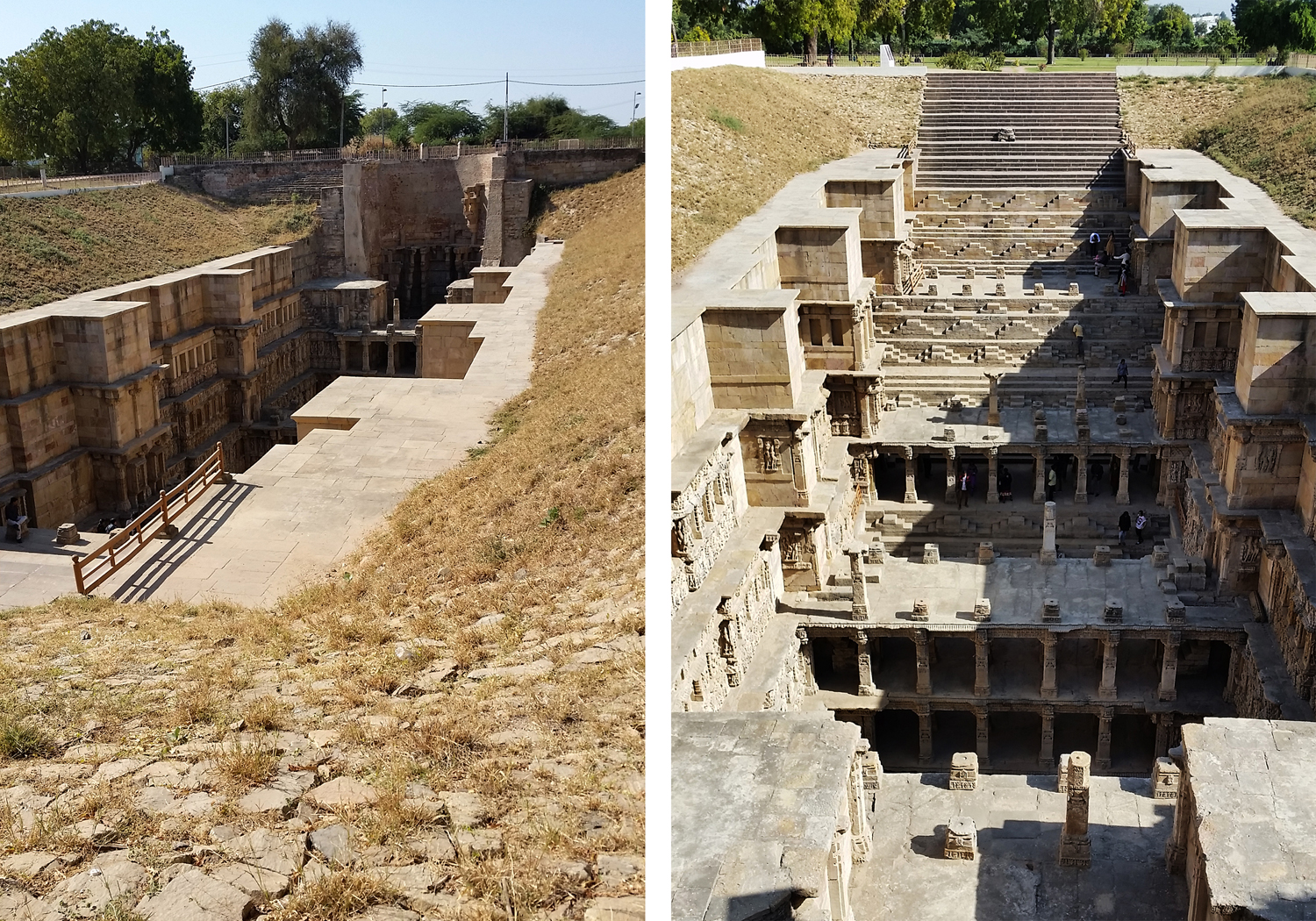 """Image 6: The two images here of the Ran-ki-vav, or """"Queen's Stepwell,"""" highlight how there is very little above the line of ground that would suggest the complexity of the structure below. December, 2015. Photograph by Jessie Wilcox"""