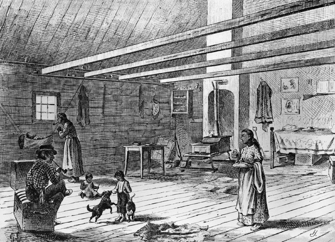 Image 2: Interior of a Metis house on the North West-Mounted Police trek west, 1874. Glenbow Archives NA-47-10.