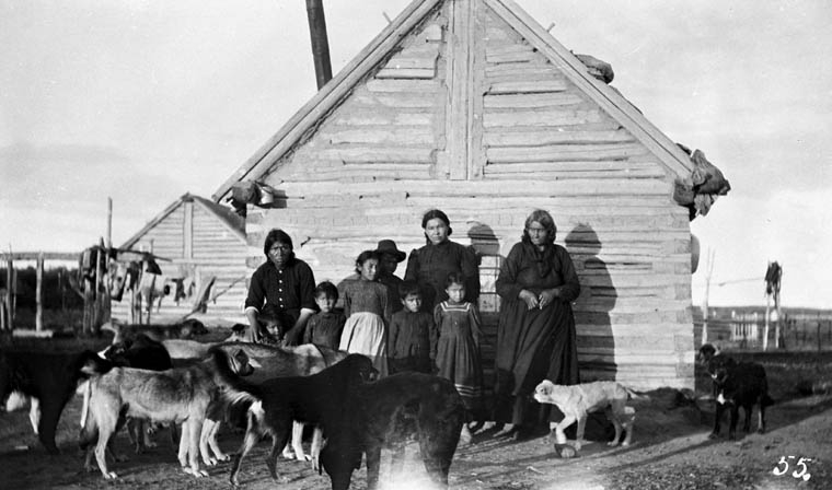 Image 9: Group of natives, Buffalo Narrows, Sask. Canada. Dept. of Interior / Library and Archives Canada / PA-044552.