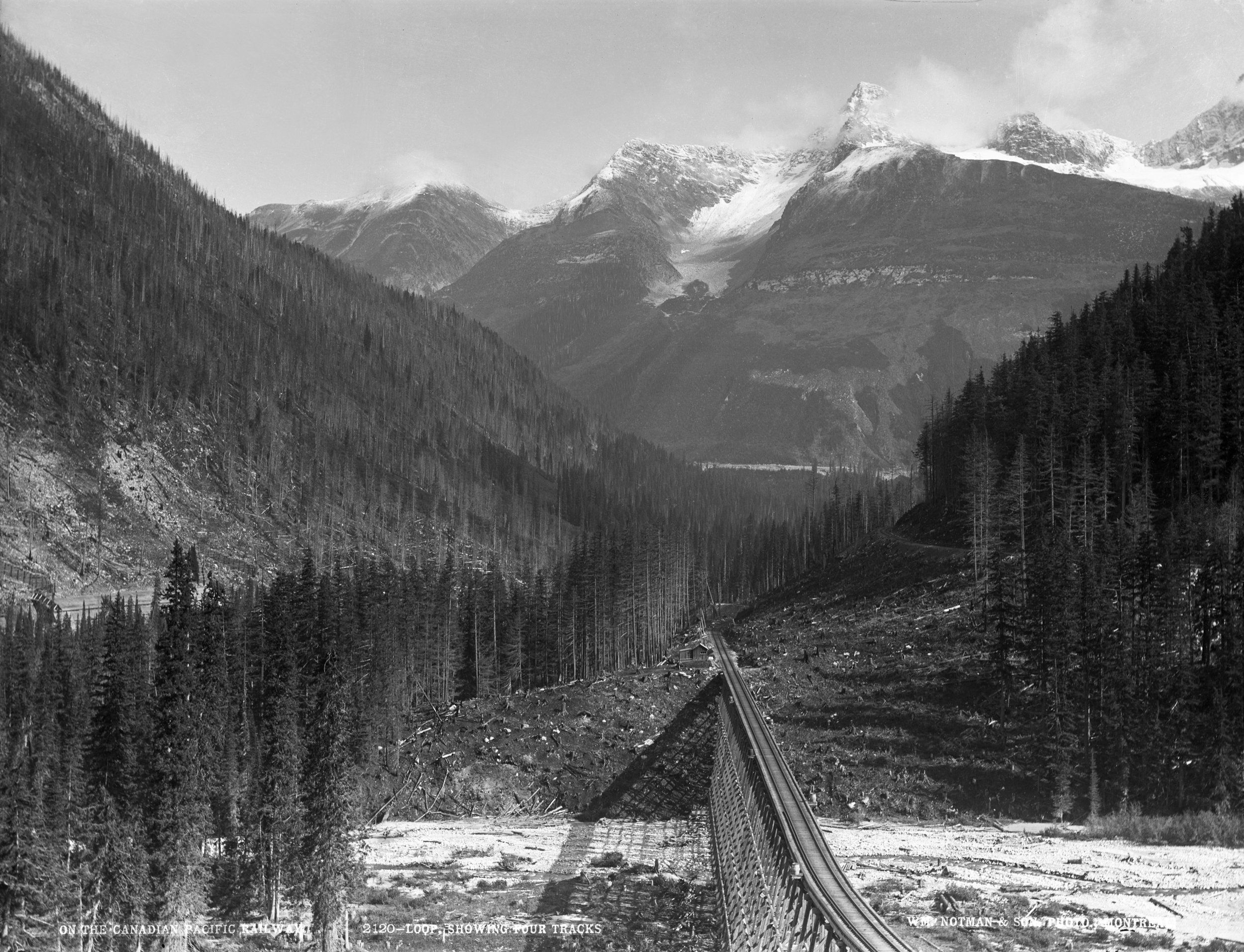 Image 4:  Loop showing four tracks on the Canadian Pacific Railway, B.C. , reversed glass plate negative, 1889 (Wm Notman & Son/William McFarlane Notman) © McCord Museum