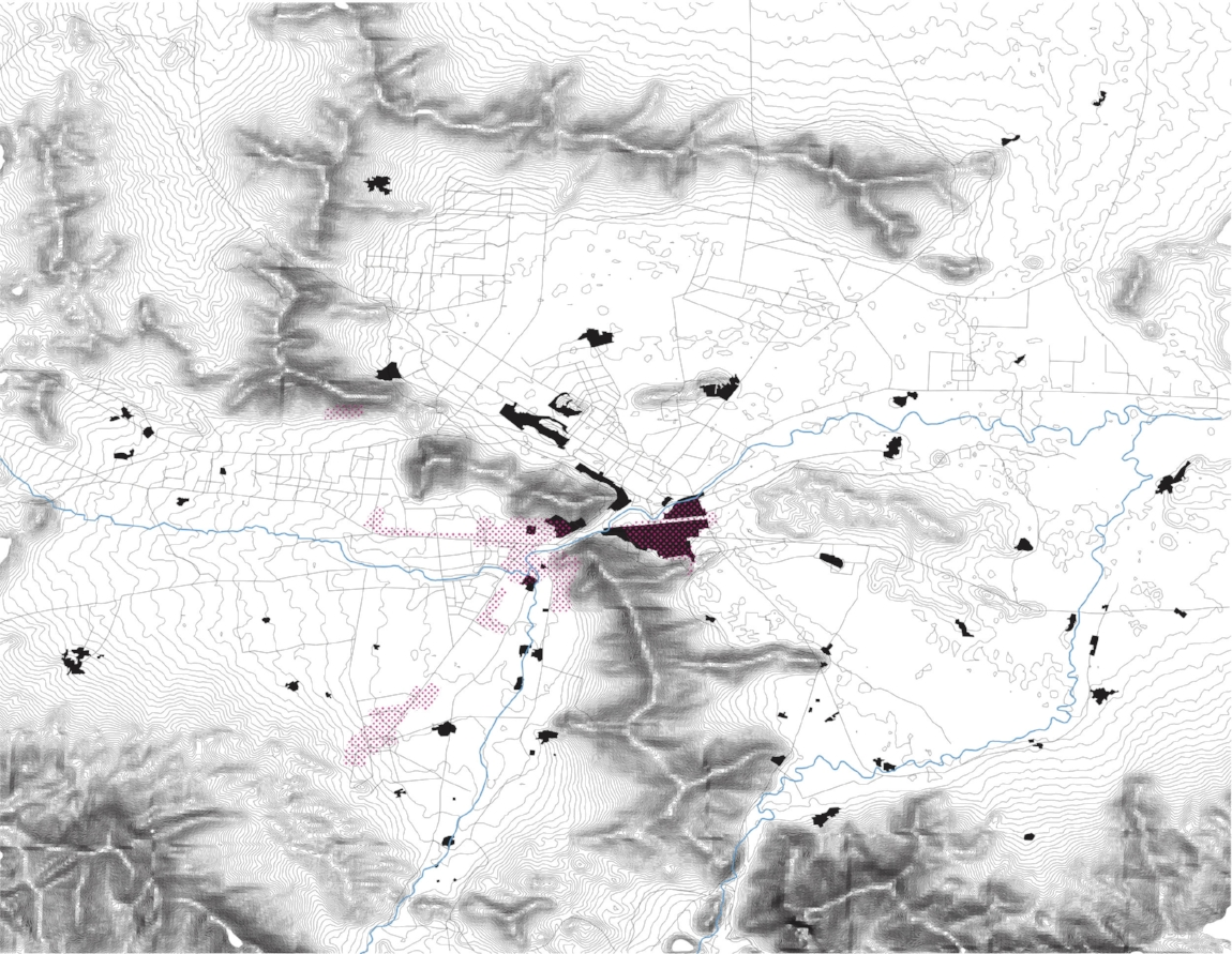 Image 3: A map of Kabul showing the historic districts of the city in relation to both topography and the most heavily bombed parts of the city during the civil war, 2017, Zannah Mae Matson