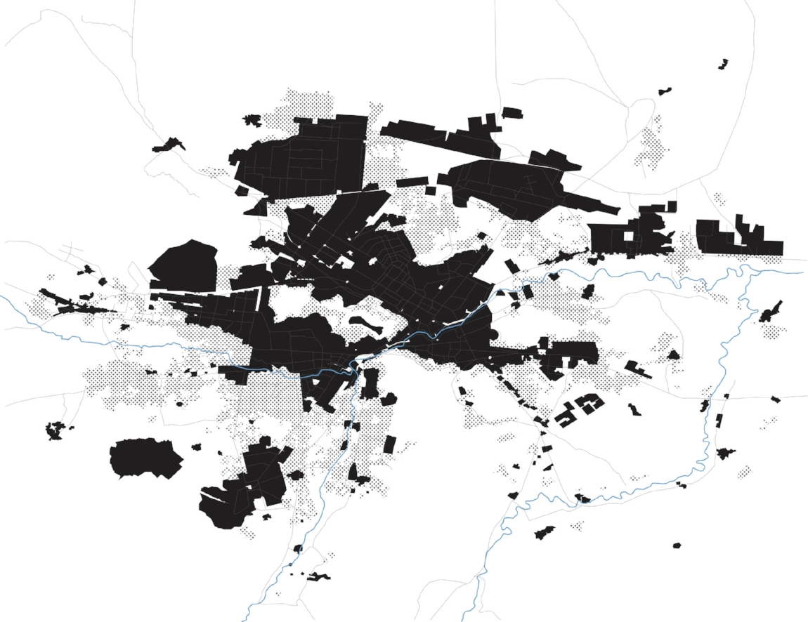 Image 5: Contrasting informal and formal development within the city, this map shows the extent of informal development as of 2001, the eve of the most recent international intervention in Kabul, 2017, Zannah Mae Matson
