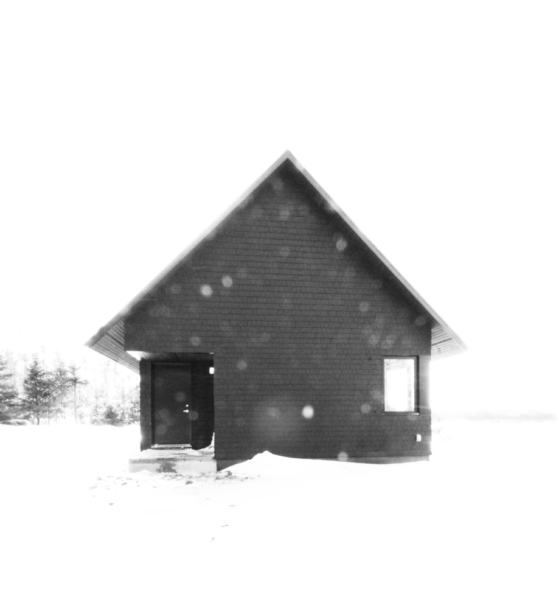 Image 1: Black Gables, a house in Louisdale, Nova Scotia, is made of a composition of black textures. Image by Omar Gandhi.