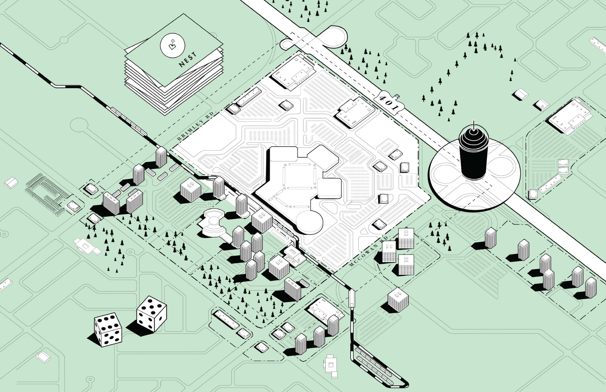 Image 13 / Scarborough—Existing Agglomeration as Played in Mallopoly, 2015. Illustration by Emma Dunn, Salome Nikuradze, Michael Piper, Zoe Renaud