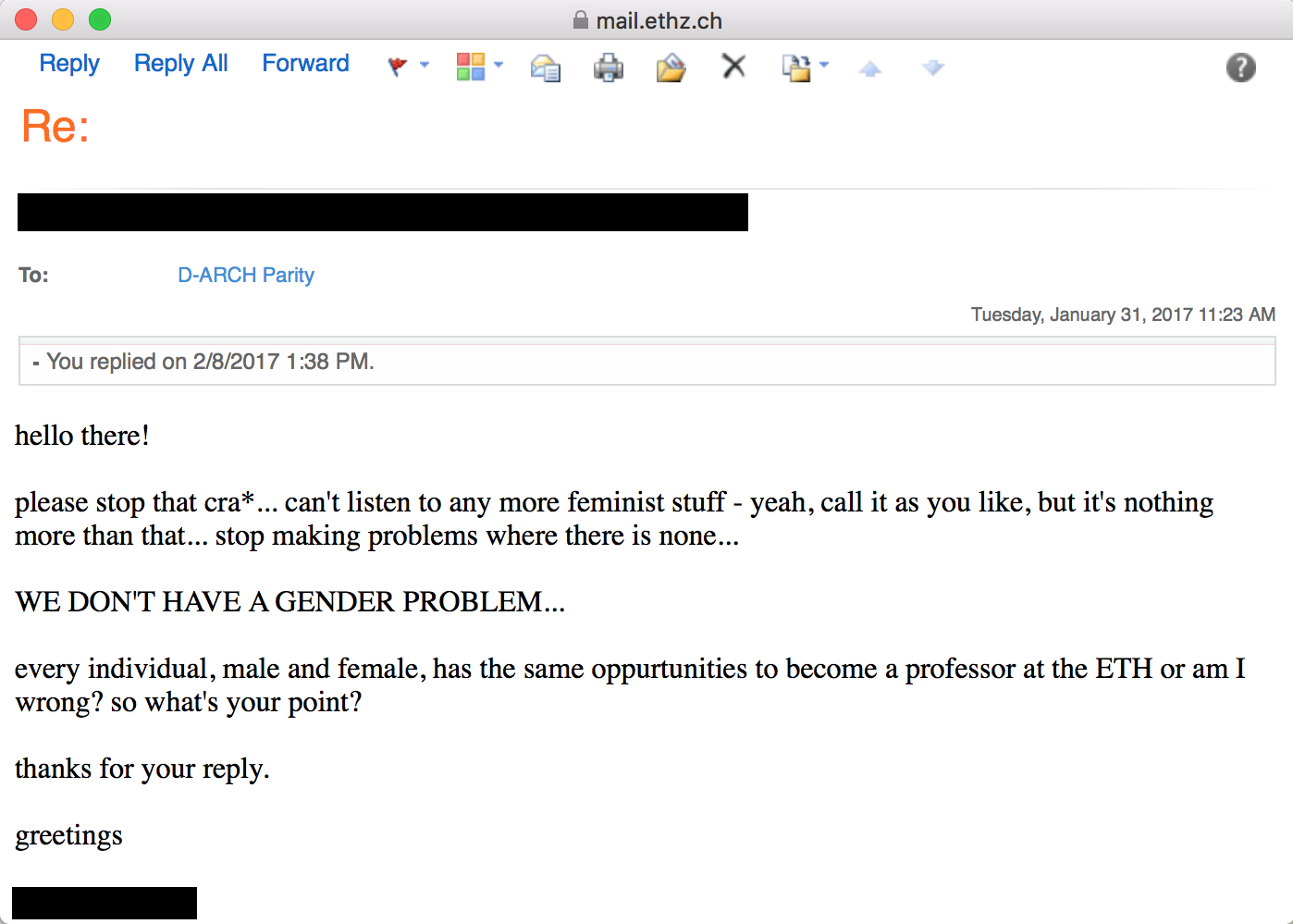 """Document 9, dated January 31, 2017 & February 8, 2017: e-mail correspondence """"WE DON'T HAVE A GENDER PROBLEM"""""""