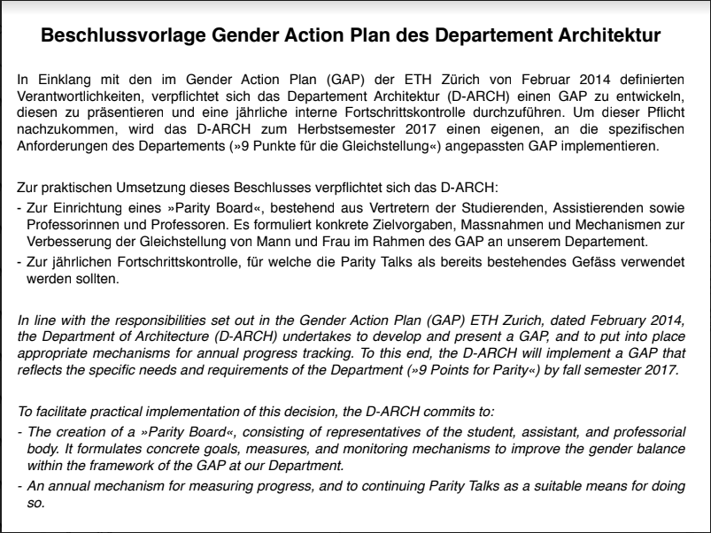 """Document 10, dated May 3, 2017: """"Proposal for the implementation of the Gender Action Plan at D-ARCH"""""""