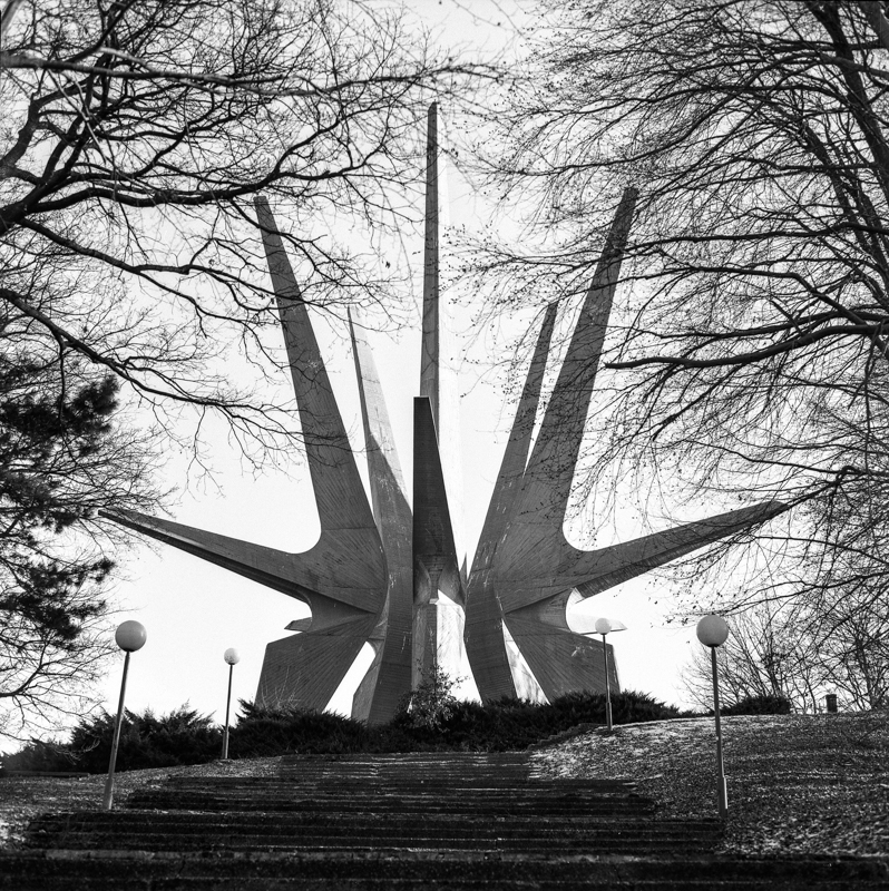 Monument to the Fallen Soldiers of the Kosmaj Partisan Detachment located in the Kosmaj Mountain Park in Serbia. Designed by Vojin Stojić and Gradimir Medaković, it commemorates the Partisan regiment from the Kosmaj area and Sava region and honours those who died during the National Liberation War.