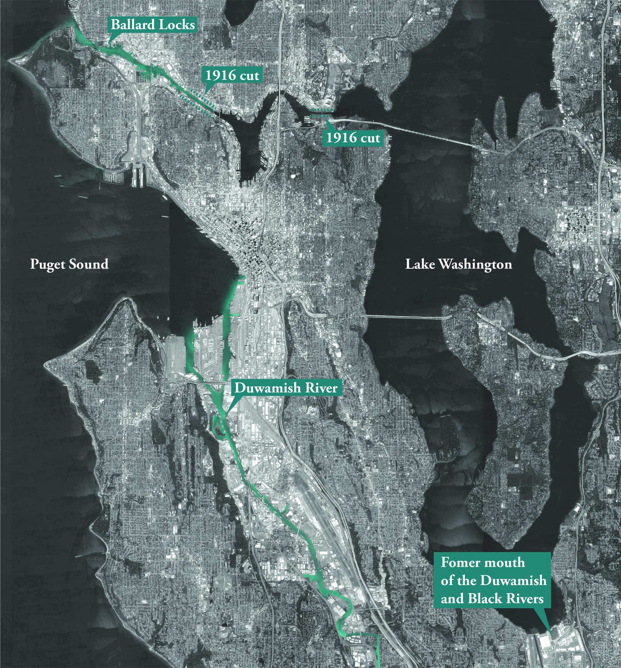 Image 1 / Map of Seattle's urban landscape and waterways. Image by Sara Jacobs